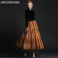 Arlenesain custom sable fur dress style over length women coat