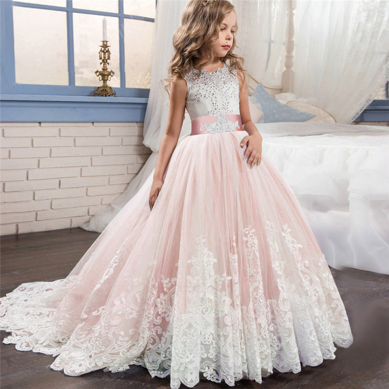High quality evening   flower     girl     dress   children's wedding party   girls     dress   first communion princess costume vestido comunion