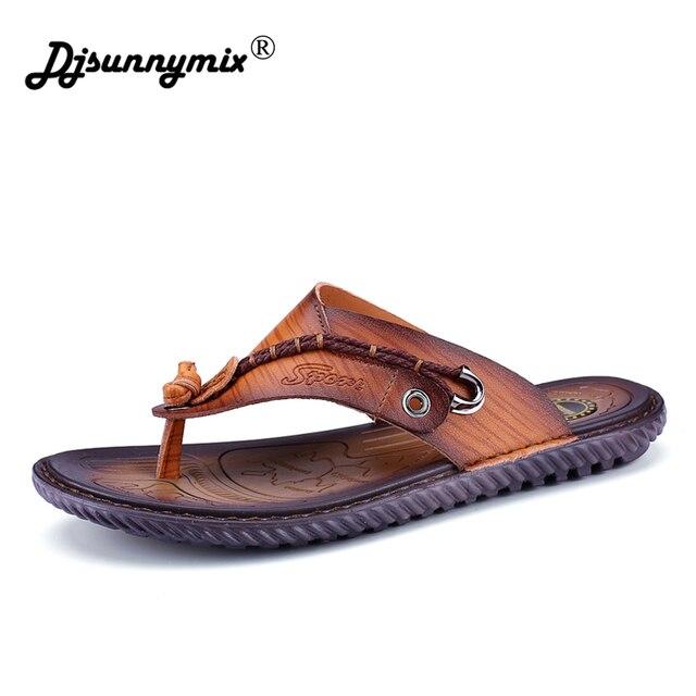 8ae160f11415 DJSUNNYMIX 2018 New Sandals Summer Beach Flip Flops Men Slippers Male Shoes  Summer Sandals Men Flat Fashion Shoes