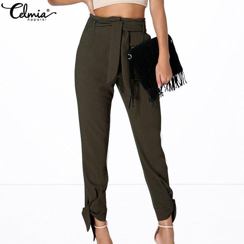 Celmia 2018 Autumn Plus Size Women High Waist Trousers Casual Capris Female Waist Belt Loose Harem Pants Knot Fashion Sweatpants