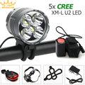 Waterproof 8000Lm 5x  XM-L U2 LED Front Bicycle Light Bike Headlamp Head Lamp Headlight+ 2 Laser 5 LED Rear Light