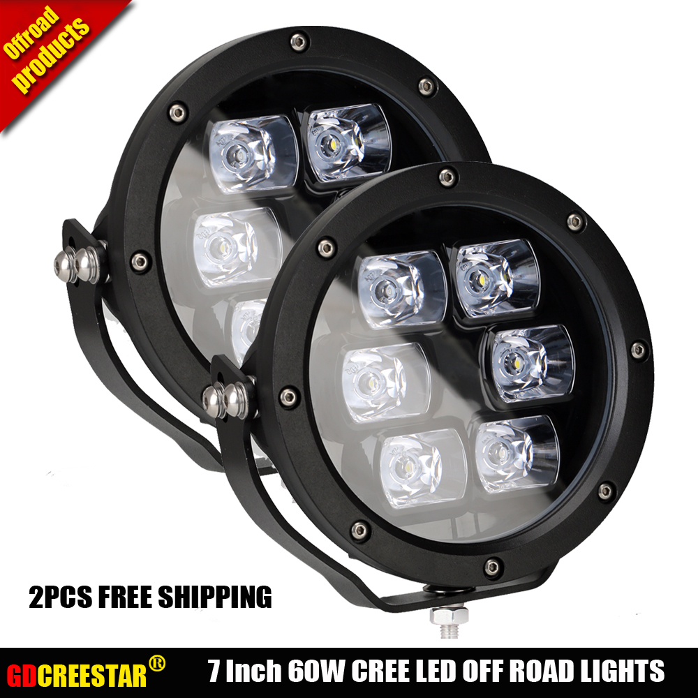 Us 239 0 60w 7inch Round Led Work Light 12v 24v Ip67 5200lm Off Road Led Spot Lights 4x4 Truck Motorcycle Fog Lamp X2pcs Free Shipping In Light