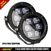60W 7inch Round LED Work Light 12V 24V IP67 5200LM Off road Led Spot Lights 4x4 Truck Motorcycle Fog Lamp x2pcs free shipping
