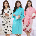 New Autumn/Winter Cozy sleepwear Cotton Bathrobe Breathable Long sleeve Nightgowns Cow spots printing Elasticity Home Suit