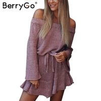 BerryGo Off Shoulder Knitting Sweater Short Dress Women Elegant Ruffle Sash Sexy Dress Casual Long Sleeve