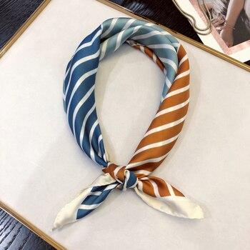 HOT Women Square Scarf soft smooth triped Silk for Ladies Neckerchief Bandana fashion foulard hand scarf hair kerchief