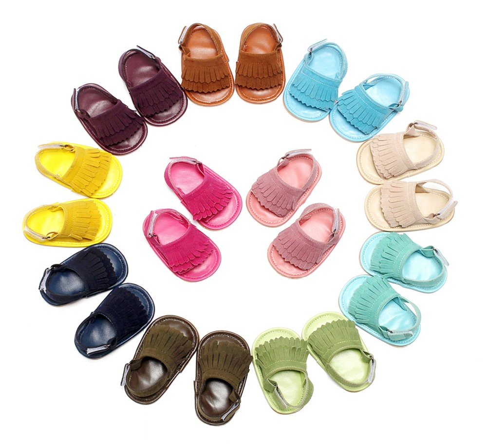 5sizes stylish pu leather tassel baby summer sandals tassel girls boys shoes outdoor shoes hard rubber bottom baby sandals