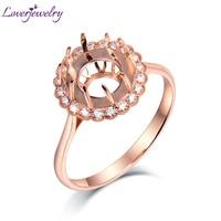 Loverjewelry розовое золото 14 K натуральный бриллиант Круглый 10,5 мм элегантные женские кольца ювелирные изделия для помолвки кольцо
