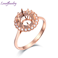 Loverjewelry Solid 14K Rose Gold Natural Diamond Round 10.5mm Semi Rings Setting Jewelry for Women