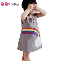 Chifuna Lovely Cloud Rainbow Dress Summer Sleeveless Children S Clothing Outerwear Kids Dresses For 1 6Yrs