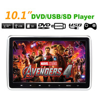 10.1 Car Headrest Monitor DVD Video Player USB/SD/HDMI/IR/FM TFT LCD Screen 1024x600 Touch Button Game Remote Control Plug Play