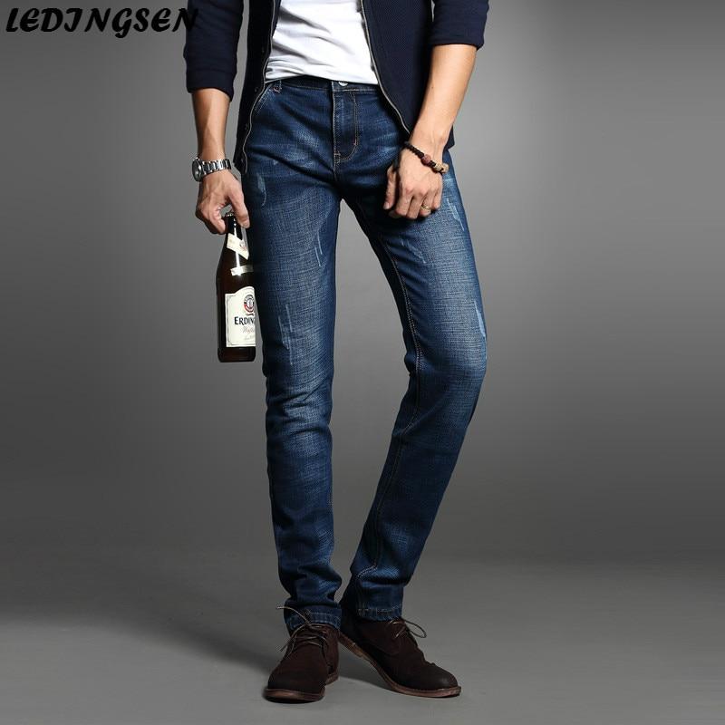 LEDINGSEN New Men Slim Blue Jeans Skinny Jeans Summer Pants Casual Stretch Jeans Fashion Brand Long Straight Denim Trousers