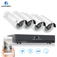 GraneyWell PoE Home Security Camera System 1080P HD 4 Channel NVR 4 waterproof Outdoor/Indoor bullet Surveillance IP Camera kit