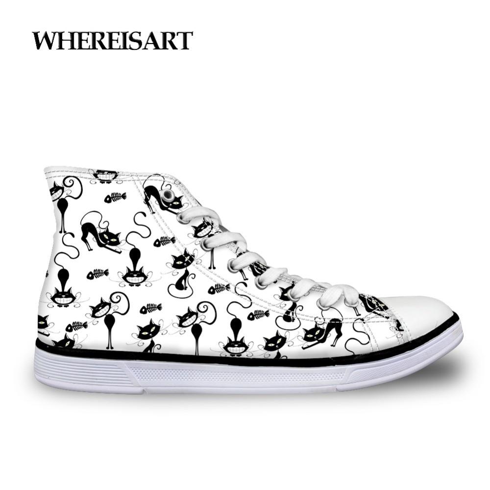 Whereisart Trendy High Top Shoes Man Pug Dog Printing Sneakers Flats Men Vulcanize Shoes Animals Cat Casual Shoes Men Walking Men's Vulcanize Shoes