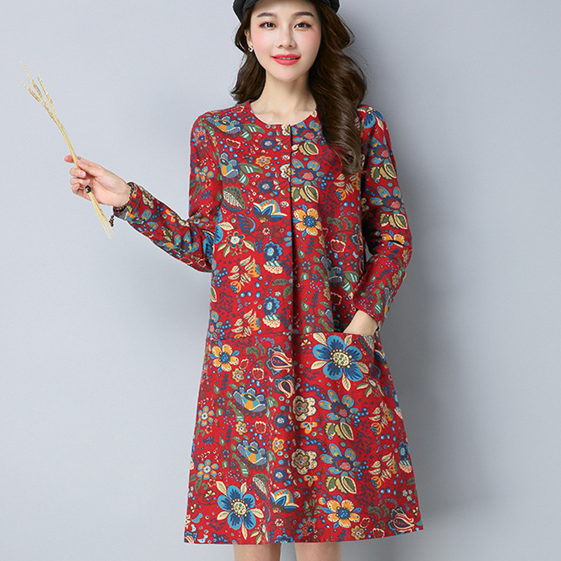 2018 spring and autumn new cotton dress female long-sleeved color ethnic wind A word dress in the long section