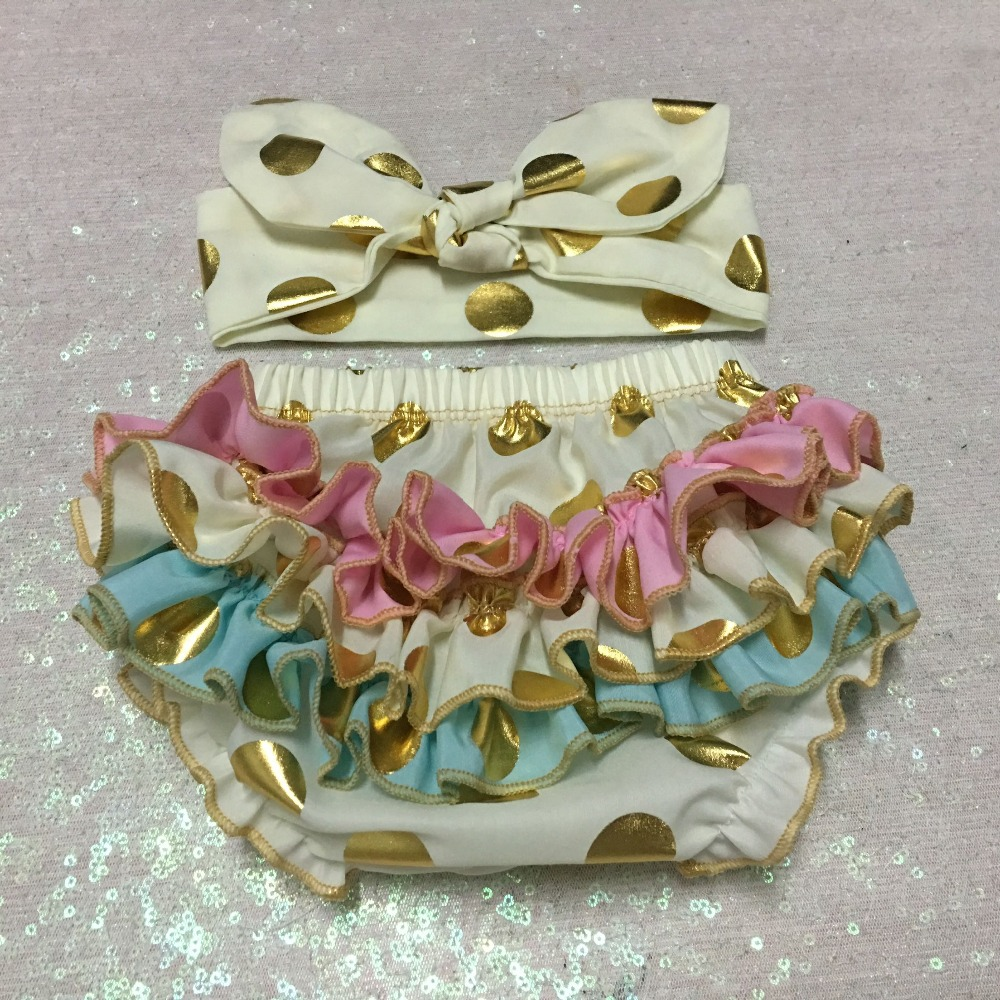Gold multicolor Baby Girl ruffle daiper cover ivory Smash Cake Outfit Gold Polka Dot Baby Bloomers ivory Bow Headband set pink lala doll top light hot pink ruffle bow petal pettiskirt baby girl outfit set nb 8y mapsa0005