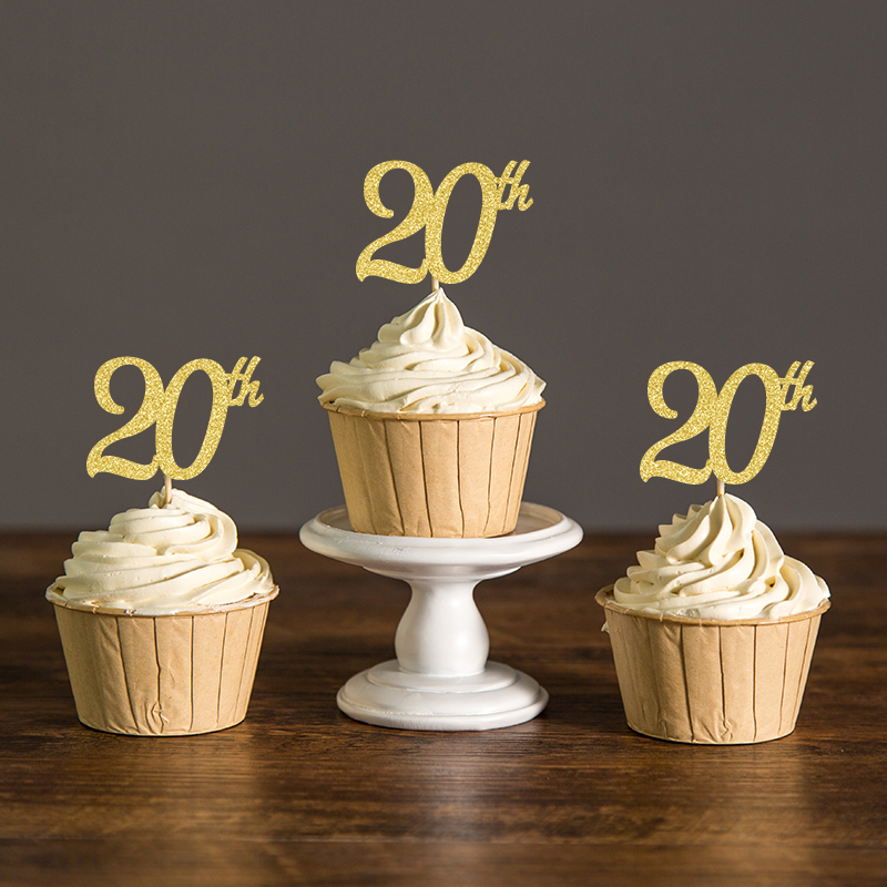 20th Cupcake Toppers Gold Silver Black Glitter Food Picks