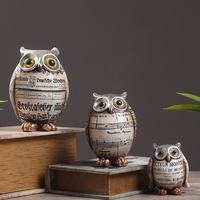 Aqumotic Creative Retro Owl Crafts Decor American Style Various Occasions Bookcases Individuality Owl Display Birds Decorations