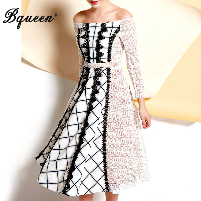 Bqueen 2017 Slash Neck Embroidery Double Cloth Elegant Sweet Lace Dress Casual