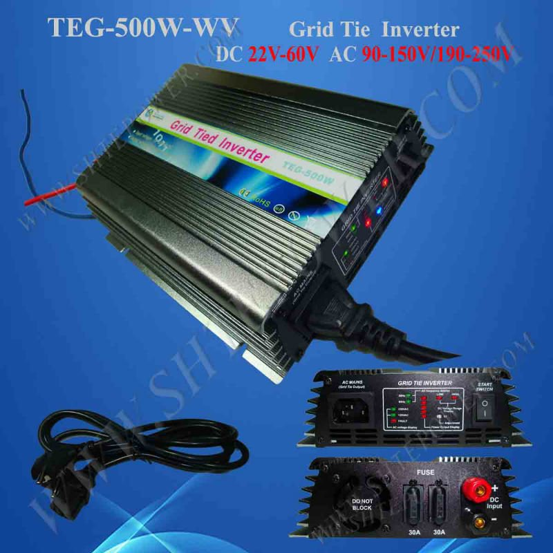 on grid tie micro solar inverter 500W Power Inverter for Solar Panel On Grid System, DC 22V-60V to AC 190V-260V High Quality new 600w on grid tie inverter 3phase ac 22 60v to ac190 240volt for wind turbine generator