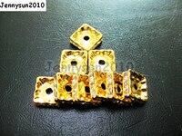 200 pçs/lote 6mm Top Quality Checa Crystal Clear Rhinestone Pave Squaredelle Espaçador De Metal Solta Pérolas Fazer Jóias