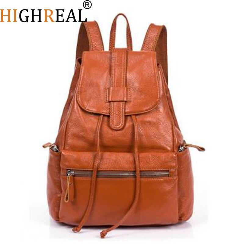 Kobiety plecaki prawdziwej skóry marki projektant wołowej plecaki szkolne dla nastolatków dziewczyny torba szkolna damska torba podróżna Mochilas czarny w Plecaki od Bagaże i torby na  Grupa 1