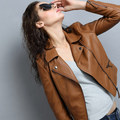 2016 Autumn And Winter Women Clothing Short Slim Motorcycle Leather Jacket Women Outerwear Casual Female Coat  S-2XL Brown