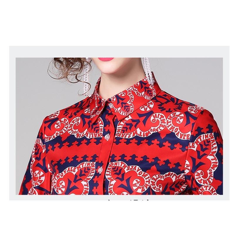 High Quality Runway Womens Blouses Ladies Fashion Print Shirt Female Red Tops