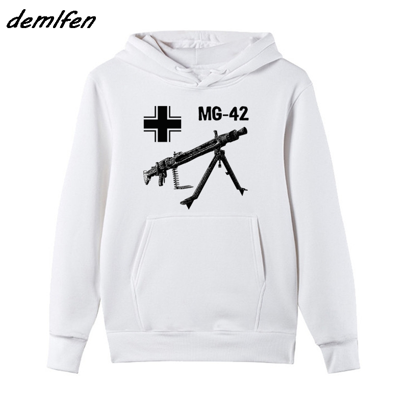 Spring Autumn Men Fleece Hoodie Mg 42 Machine Gun Germany Wwii Sweatshirt Casual Male Hip Hop Jacket Coat Harajuku Streetwear Online Discount Men's Clothing