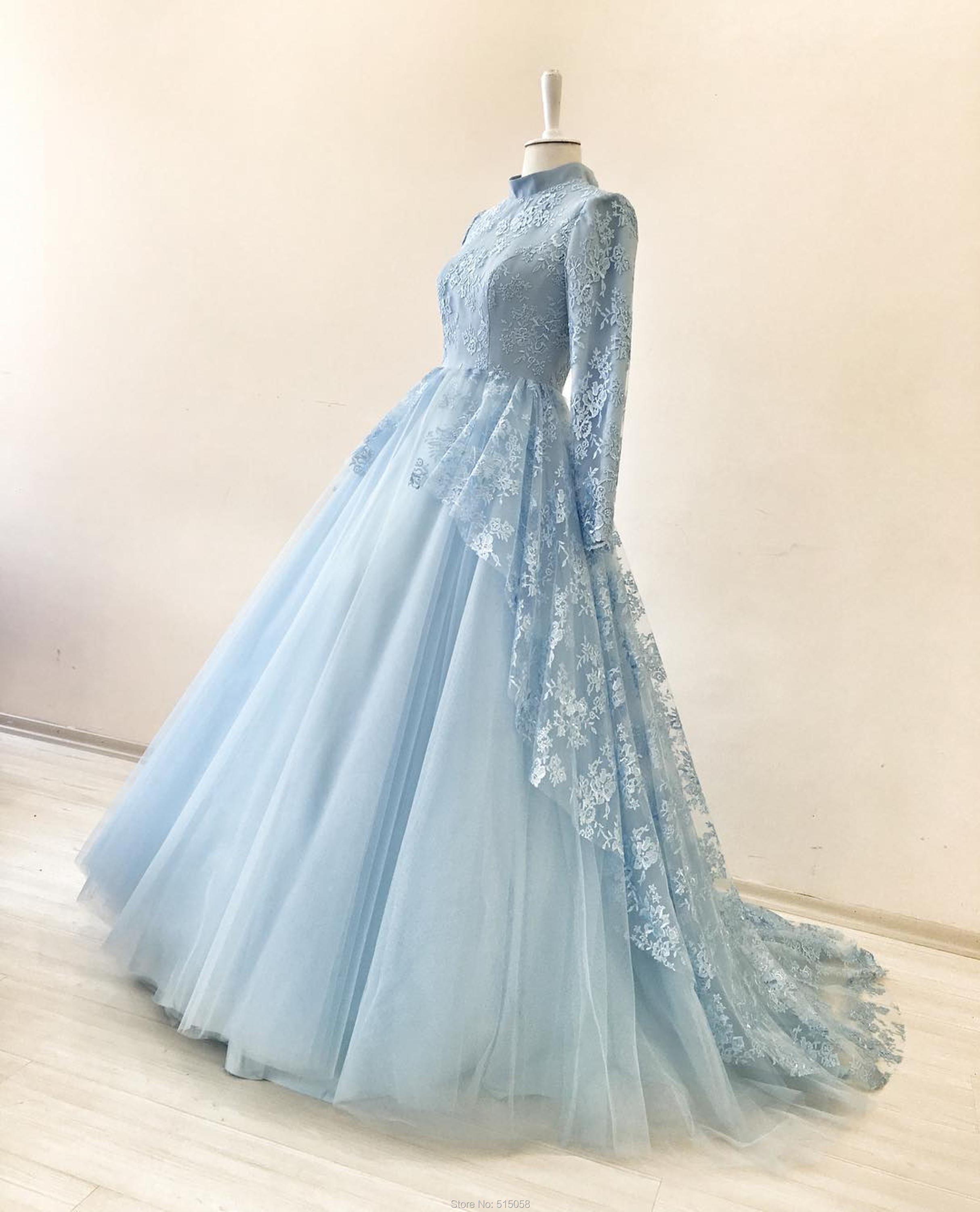High Neck Long Sleeves Lavender Wedding Ball Gown Dresses For Mulism ...
