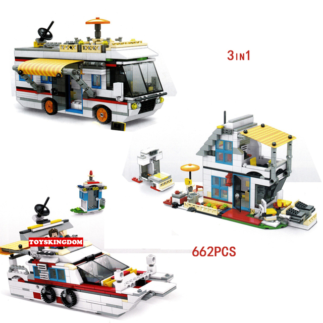 Funny City street view 3in1 Touring car building block house speed boat ship bricks figures educational toys for children gifts
