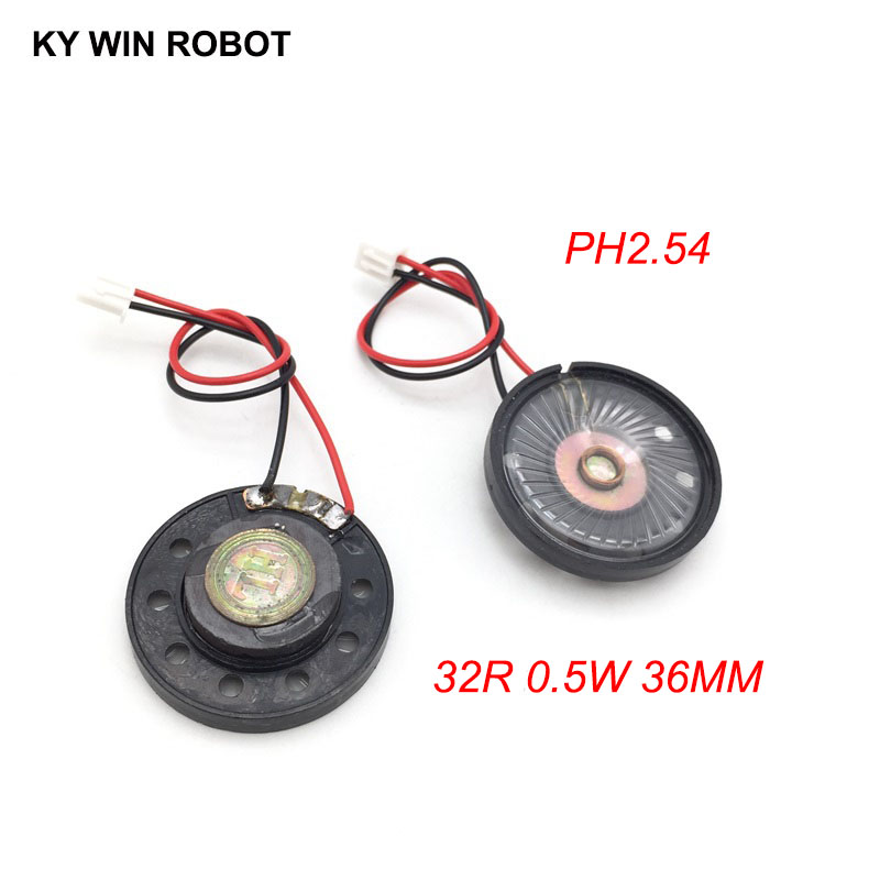 2pcs/lot New Ultra-thin Toy-car Horn 32 Ohms 0.5 Watt 0.5w 32r Speaker Diameter 36mm 3.6cm With Ph2.54 Terminal Wire Length 10cm Passive Components Acoustic Components