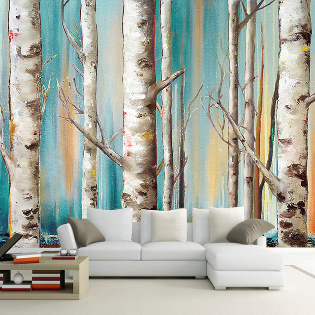 Custom 3d mural wallpaper modern white birch trees oil for Birch tree wallpaper mural