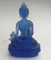 High 12CM!!! Art Collection Chinese Hand carved Old Blue Crystal Colored Glaze Medicine Buddha Statue