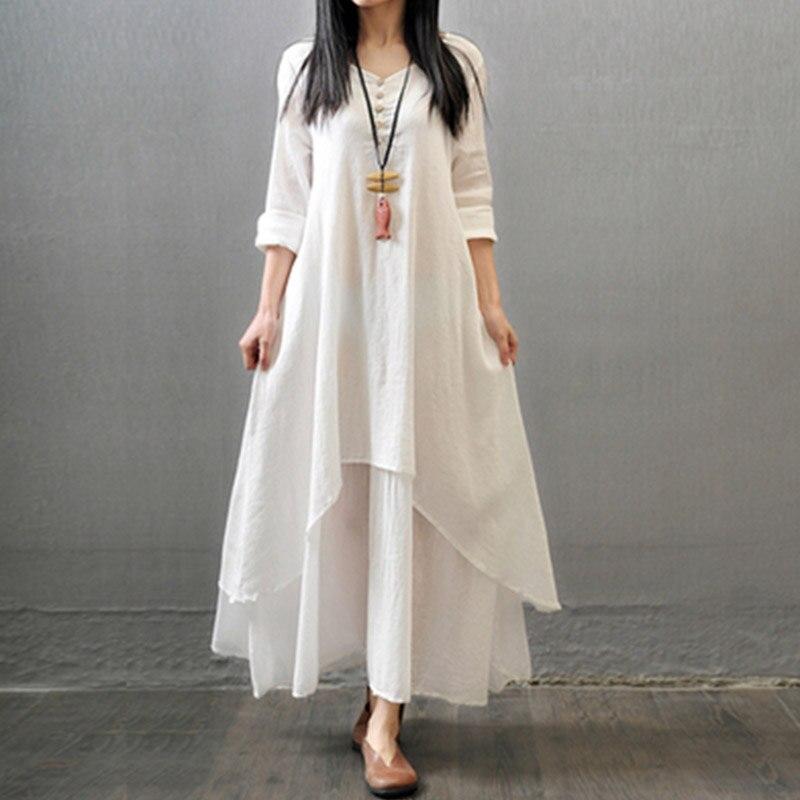 e272a216d0a cotton and linen plus size women long dresses 2018 autumn new solid folk  style lady elegant evening party clothing dress