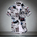 Men's Short Sleeve Shirts 2016 Fashion New Summer Beach Shirt British Style Man Slim Fit Floral Shirts camisas dos homens XXXL