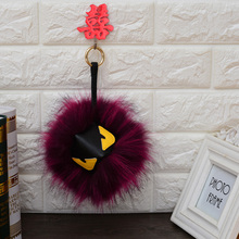 Hot Sale Fur Monster Pom Pom key chain Key Ring Bag car Charm Men Women Fur pom pom Plush Keychain EH-410