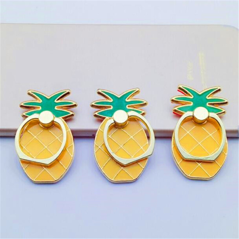 UVR 360 Degree Metal Finger Ring Jewelry Smart Phone Stand Holder Fruit Pineapple Mobile Phone Holder Stand For Iphone All Phone