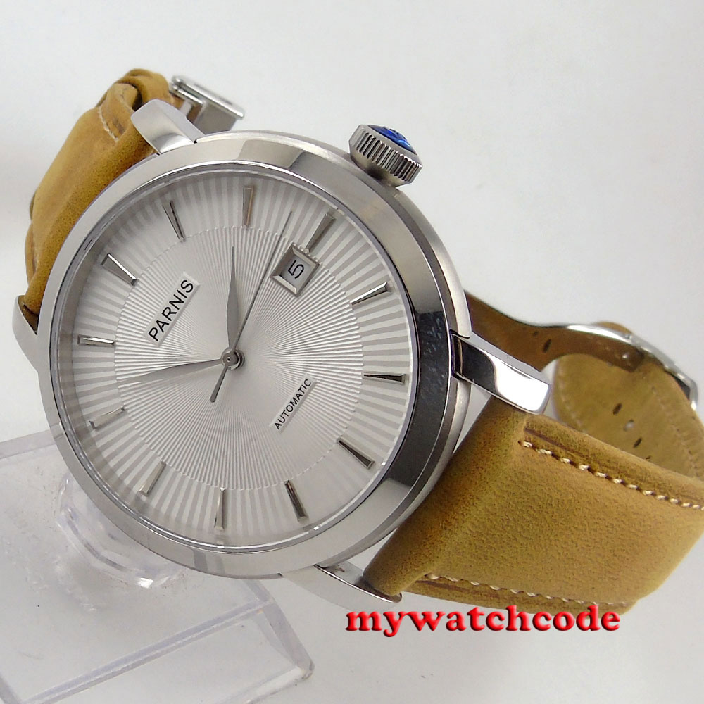 41mm Parnis white dial cow leather strap Sapphire Glass Automatic mens Watch61641mm Parnis white dial cow leather strap Sapphire Glass Automatic mens Watch616
