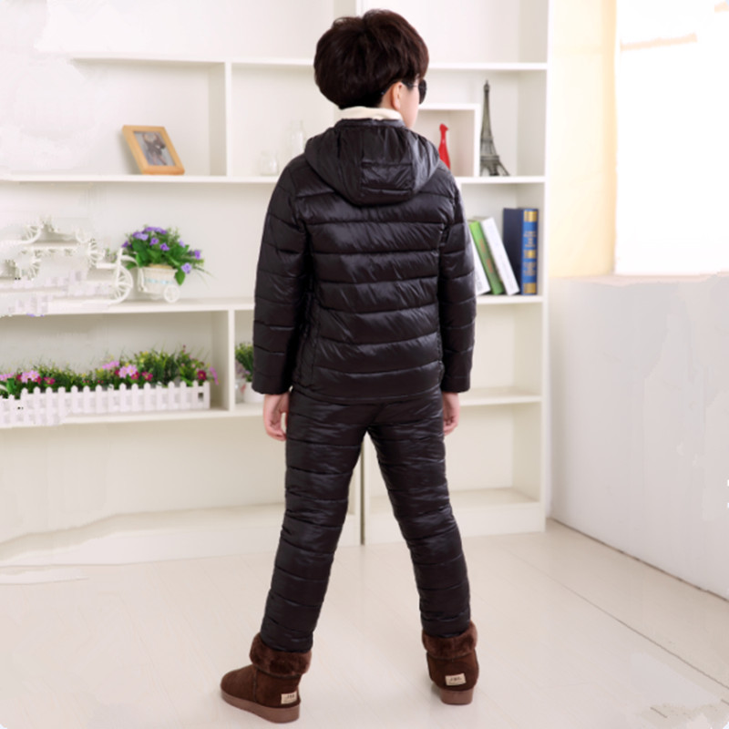 3-13T Children's Winter Warm Clothing Set Fashion Down Cotton Solid Clothing Suit Light Thin Hooded Outwear High Quality
