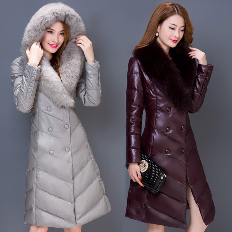 New Women's Down Coat Winter 2017 Mother Thicken Big Faux Fur Collar Hooded Slim Long Sheep Leather White Duck Down Coat Female