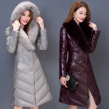 New Women's Down Coat Winter 2016 Mother Thicken Big Faux Fur Collar Hooded Slim Long Sheep Leather White Duck Down Coat Female