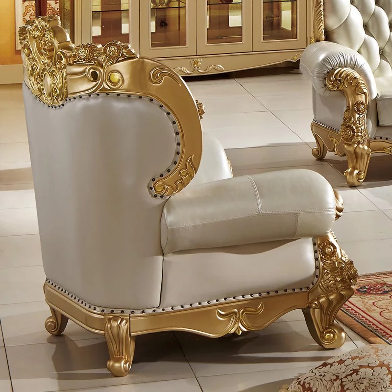 modern antique design European style solid wood golden color carving living room furniture leather sofa set