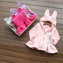 2016 kids's autumn clothes vogue women jacket outerwear rabbit hooded women clothes units child women sweater