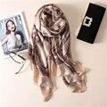 2017 мода классический полноценно шелковый шарф женщин мягкая зима шарф люксовый бренд Шаль и Шарфы Долго пашмины мыс