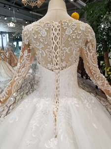 Image 5 - HTL109 Westernสไตล์ชุดแต่งงานPUREใหม่OคอยาวappliquesแขนTulleงานแต่งงานชุด платье на бретельках