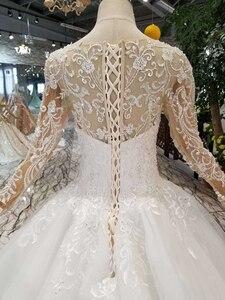 Image 5 - HTL109 vestidos de boda de estilo occidental puro nuevo cuello redondo apliques largos de tul mangas vestido de novia de la muchacha