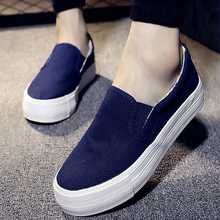 2016 Ladies Shoes Canvas Shoes Platform Flats Slip On Solid Woman Leisure Breathable Shoe Female Fashion Casual Shoes Slipony