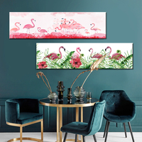 Nordic Flamingo Flower Wall Art Canvas Poster Pink Minimalist Print Painting Scandinavian Decoration Picture Living Room Decor