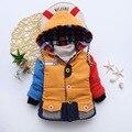 Bebé cálido abrigo niños ropa de invierno 100% ropa de algodón 2016 nueva chica caliente con capucha parka abajo chico azul diseño de la estrella chaqueta